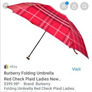 👀 BURBERRY AUTH ASNEW Red Plaid Foldable Umbrella
